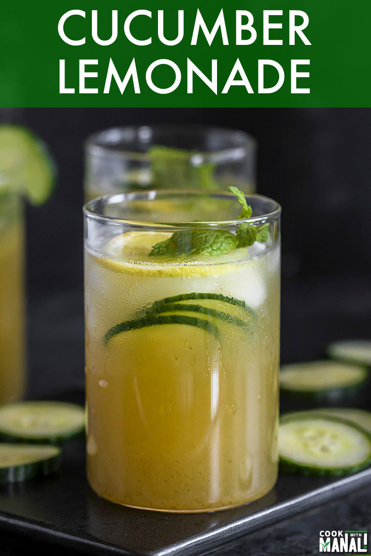 Cool off this summer with a glass of refreshing homemade Cucumber Lemonade. Made with simple ingredients, this lemonade is an ideal drink for summer parties and BBQ! #lemonade #homemade #summer #cucumber #drinks #summerdrink