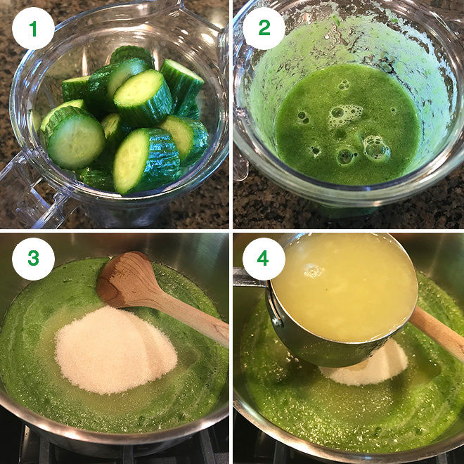 step by step pictures of making cucumber lemonade