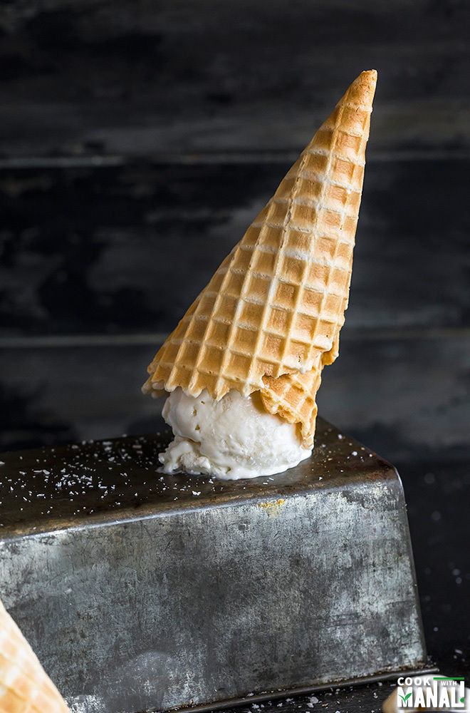 inverted waffle cone with tender coconut ice cream