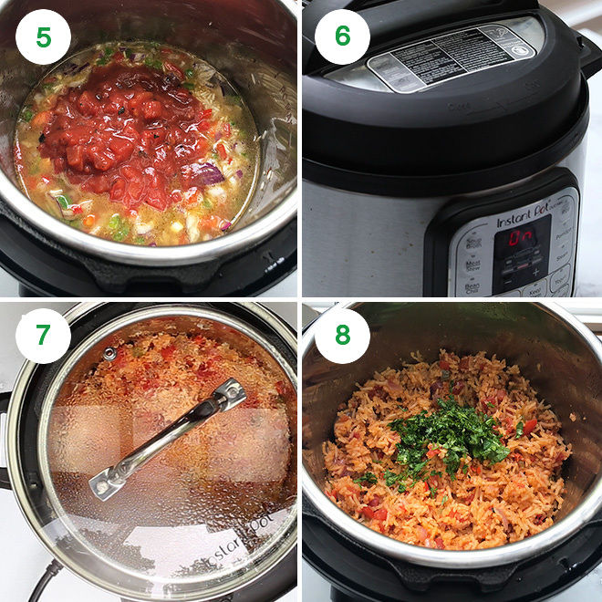 step by step pictures of making mexican rice in the instant pot