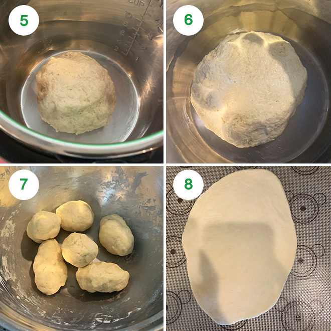 step by step picture collage of making no yeast naan at home