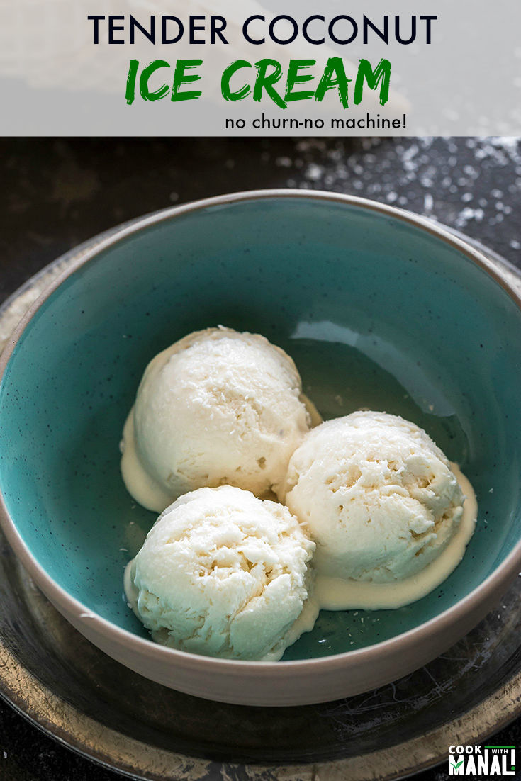 Homemade Tender Coconut Ice Cream which tastes exactly like the ice cream from Natural! Make this creamy ice cream at home without an ice cream maker!  #icecream #summer #coconut