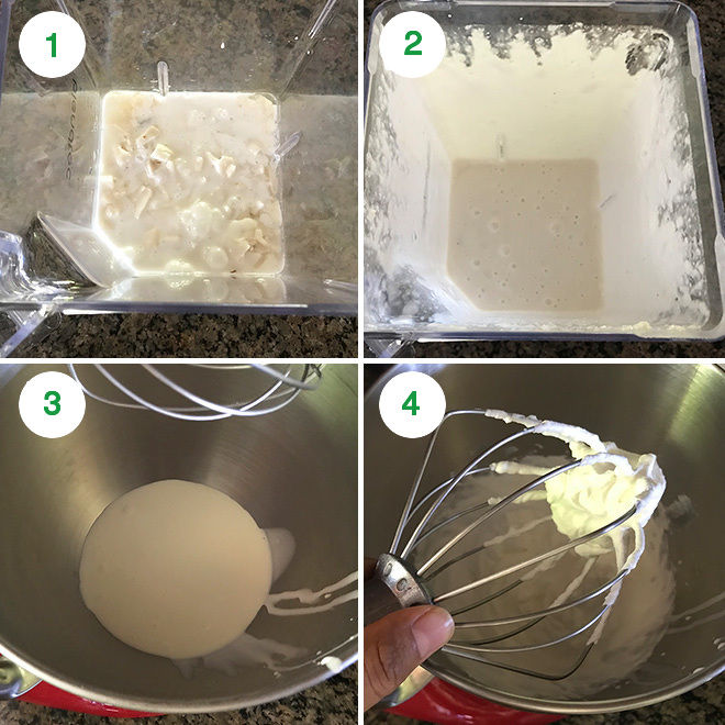 step pictures of making tender coconut ice cream