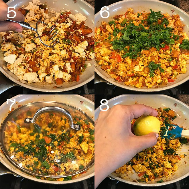 tofu scramble recipe step pictures in a collage