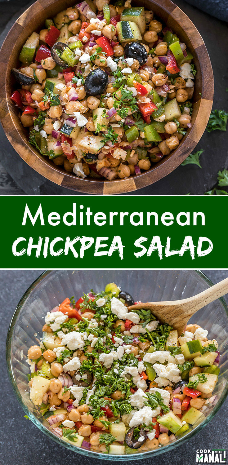 Quick and easy Mediterranean Chickpea Salad is full of flavors and great for meal-prep. It's nutritious, gluten-free and good for you! #salad #glutenfree #mediterranean