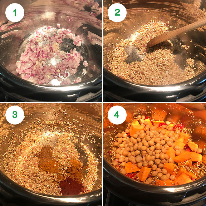recipe steps to make instant pot curried sweet potato chickpea quinoa