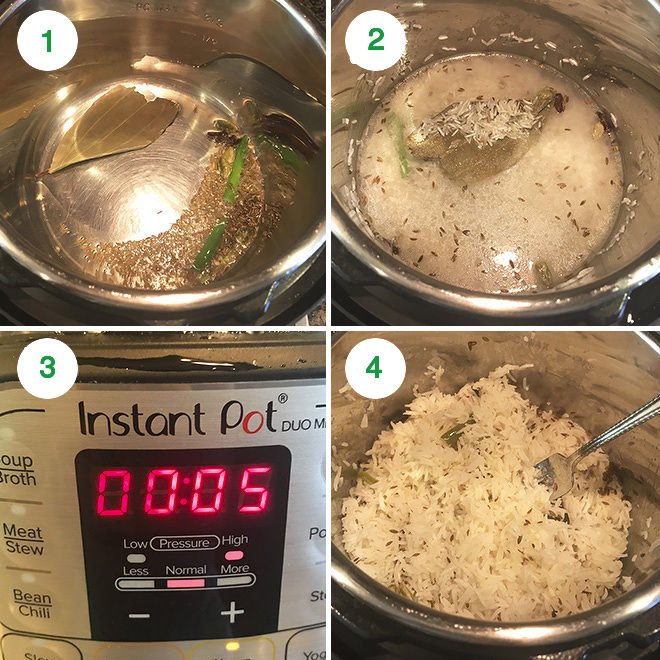step by step pictures of making jeera rice in the Instant Pot