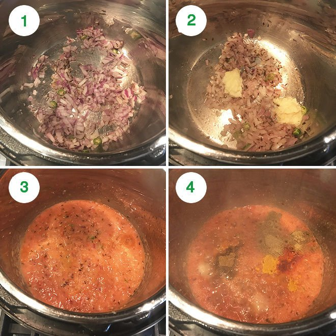 step by step pictures of making kala chana in instant pot