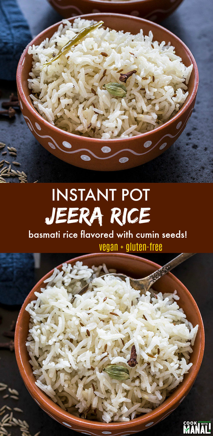 Basmati rice tempered with whole cumin seeds! Jeera rice is a popular Indian rice dish which pairs beautifully with any curry or dal. It's so easy to make it in the Instant Pot! Vegan & gluten-free. #indian #instantpot #rice #vegan #glutenfree
