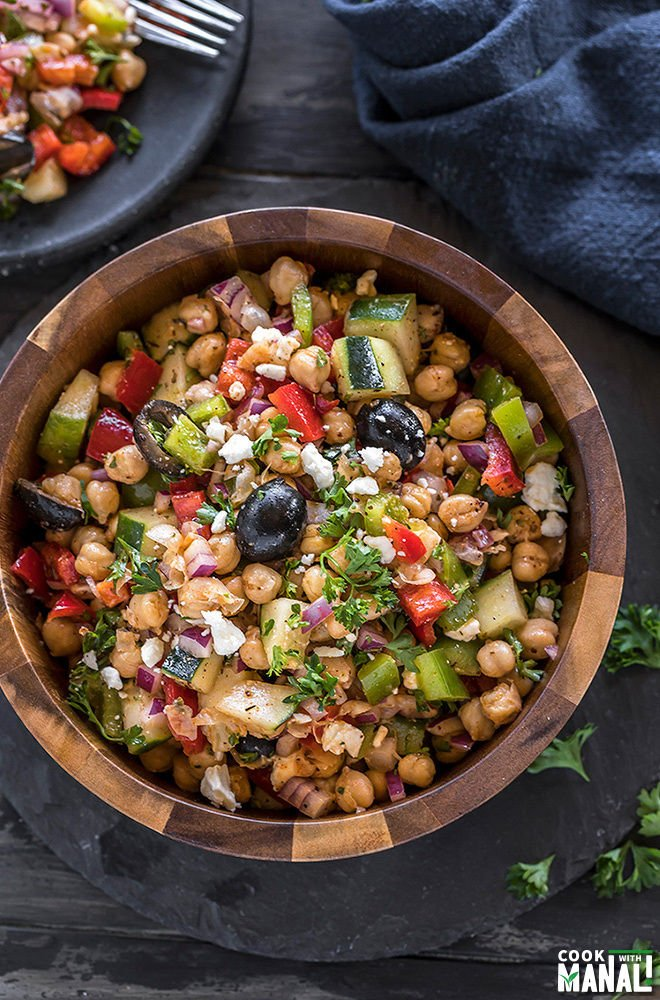 mediterranean chickpea salad in a large wooden bowl