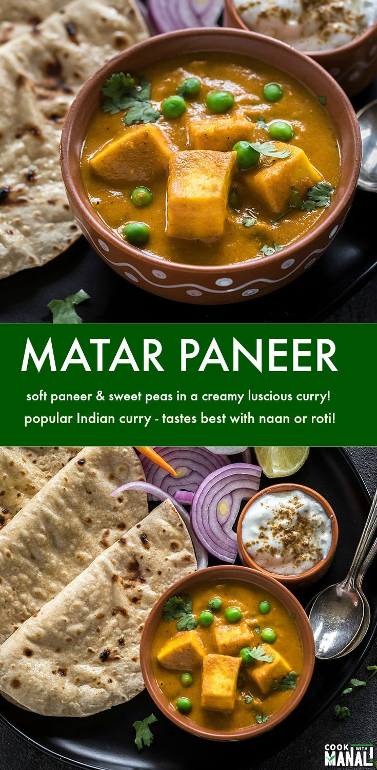 Creamy and luscious Matar Paneer is one of the most popular paneer dishes! Soft paneer and sweet green peas are cooked in a onion-tomato gravy with spices. This vegetarian curry tastes best with fresh rotis! #indian #paneer #vegetarian
