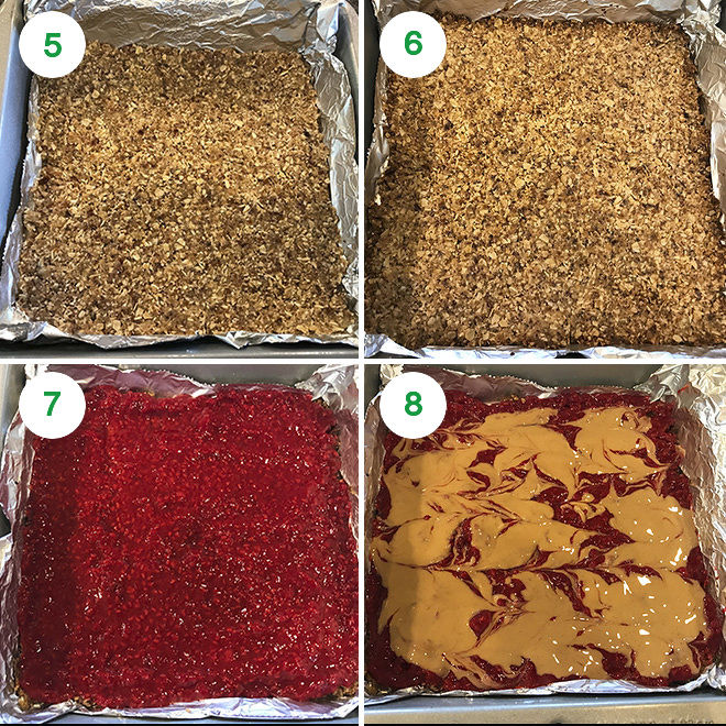 step by step pictures to make vegan peanut butter jelly bars