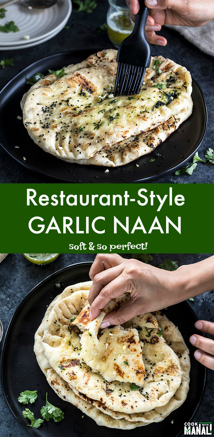 Soft and Buttery Homemade Garlic Naan - just like the one from your favorite Indian restaurant! Enjoy it with your favorite curry! #naan #indian #recipe