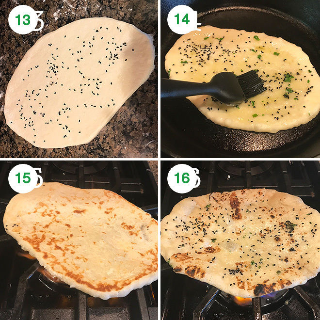 step by step pictures of making garlic naan at home