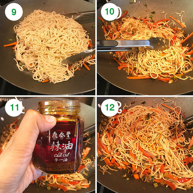 step by step pictures of vegetable hakka noodles being made