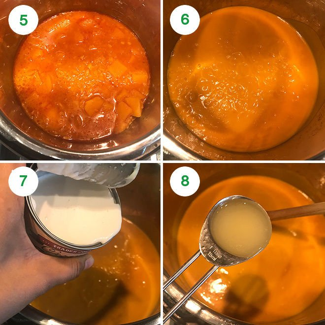 thai butternut squash soup being made in the instant pot