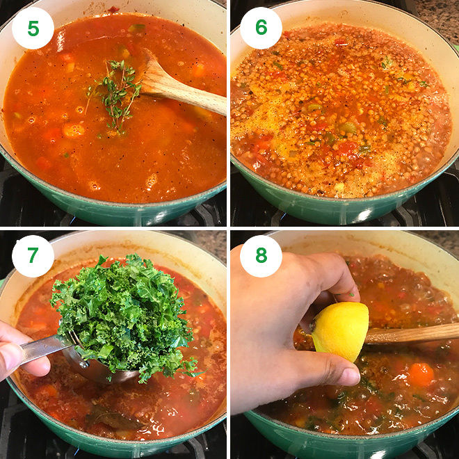 step by step pictures of making vegan lentil soup at home