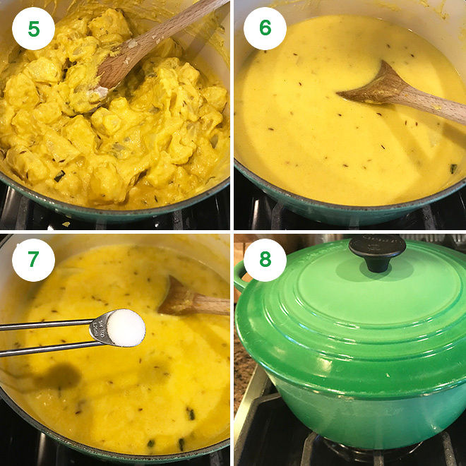 step by step pictures of making dahi aloo on stove top