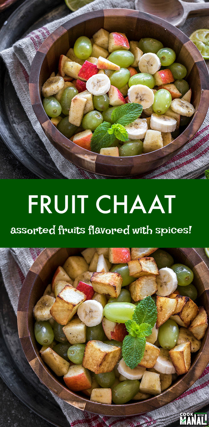 Indian style fruit chaat made with assorted fruits and flavored with cumin, chaat masala and lemon juice! #indian #vegan #indianfood #recipe #glutenfree