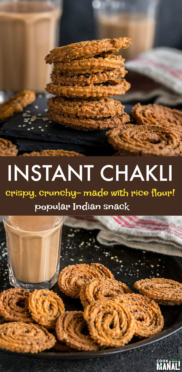 Instant Chakli made with rice flour. This popular Indian snack is crispy, crunchy and best enjoyed with a cuppa chai! #indian #snack #recipe