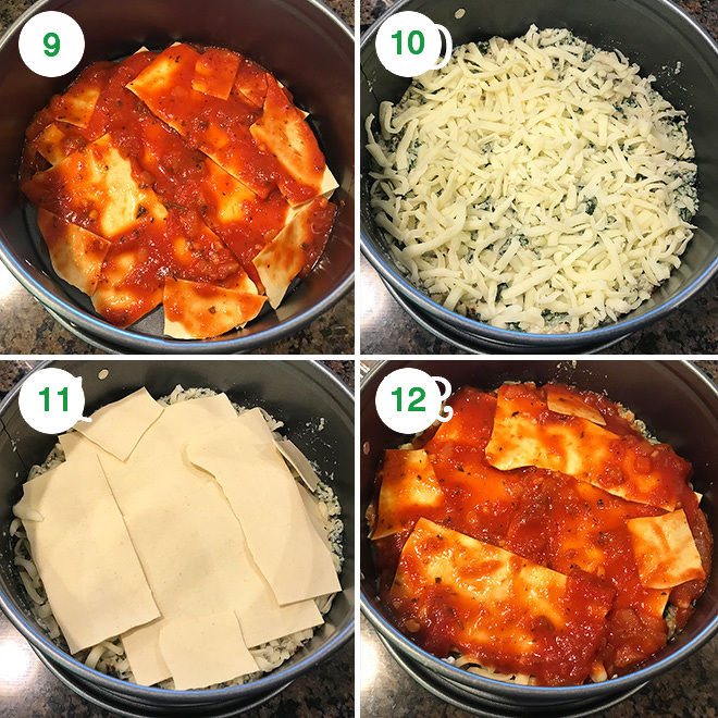 step by step pictures of making spinach mushroom lasagna in the instant pot