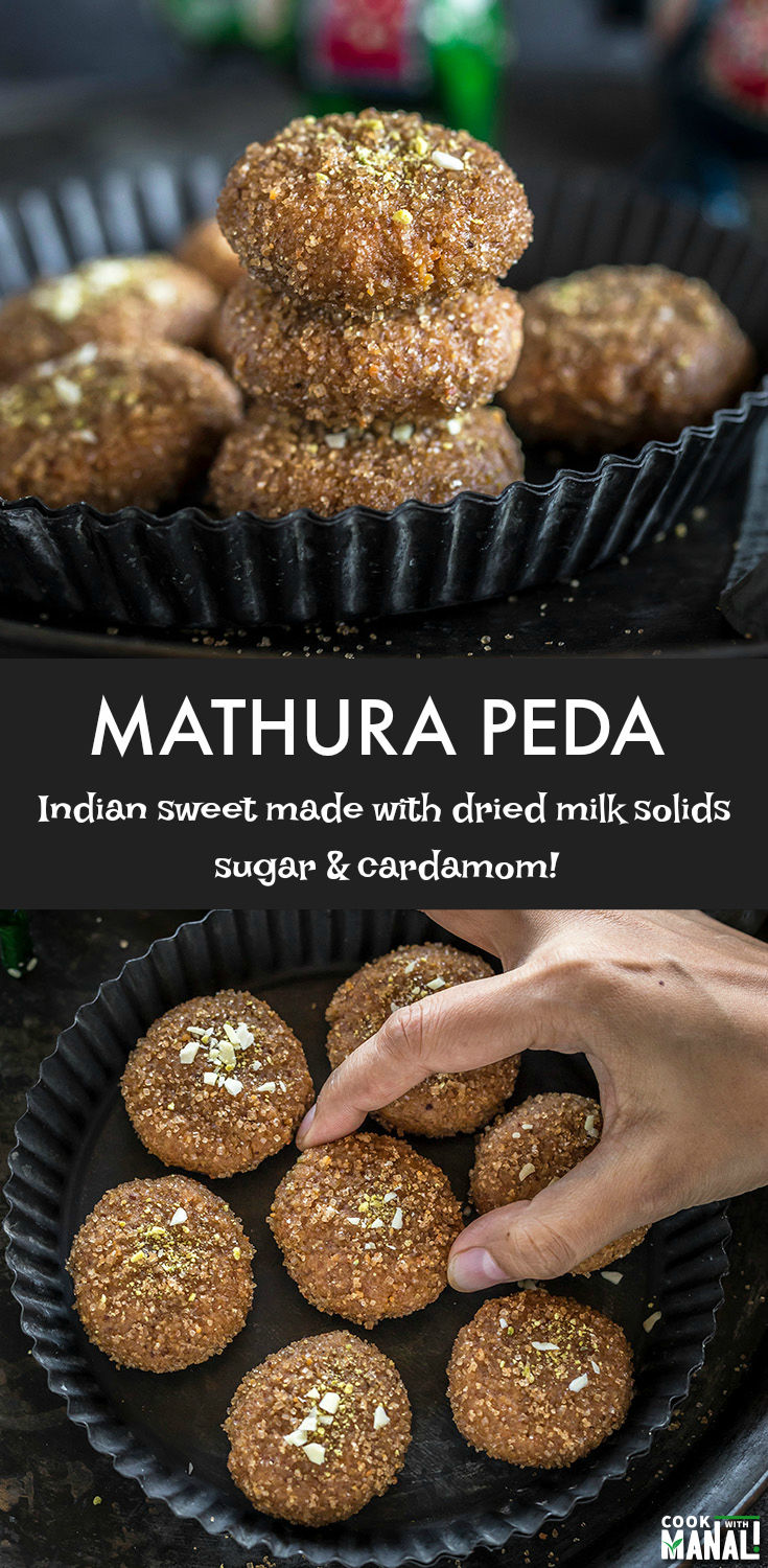 Mathura Peda is a classic Indian sweet made with roasted mawa (milk solids), sugar and flavored with cardamom. These are done in less than 30 minutes! #dessert #indian #recipe #indiansweet