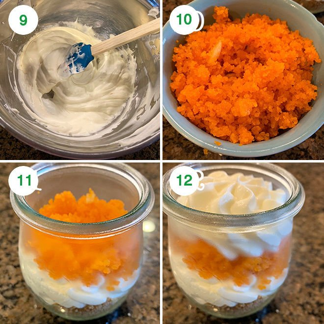 step by step pictures of making motichoor ladoo cheesecake jars