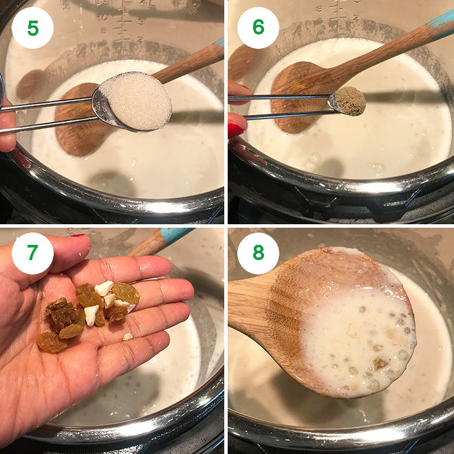 collage of step by step pictures of making sabudana kheer in instant pot