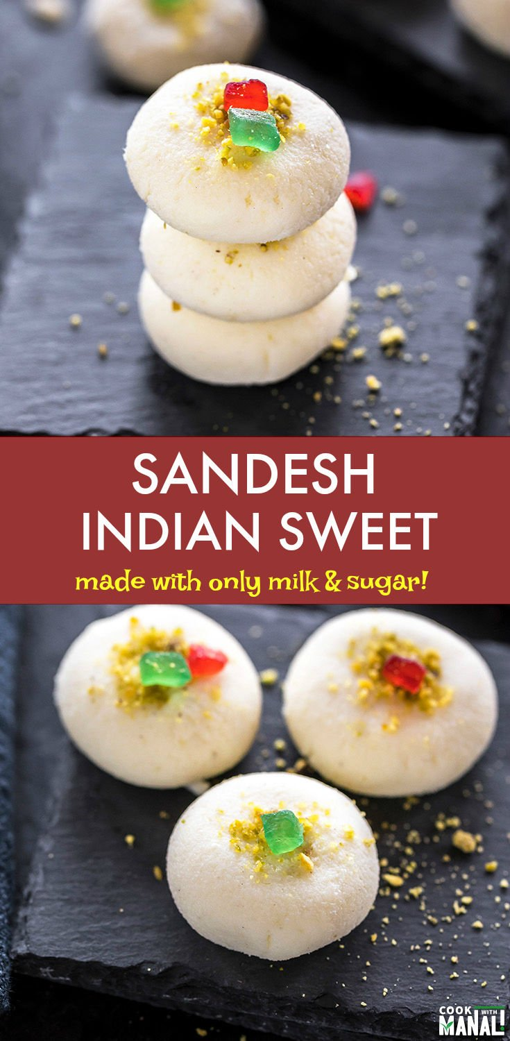 Famous Bengali sweet, Sandesh is made with only milk and sugar! Lightly flavored with cardamom, this is an easy sweet to make during the festive season! #indiansweet #sandesh #sweet #dessert