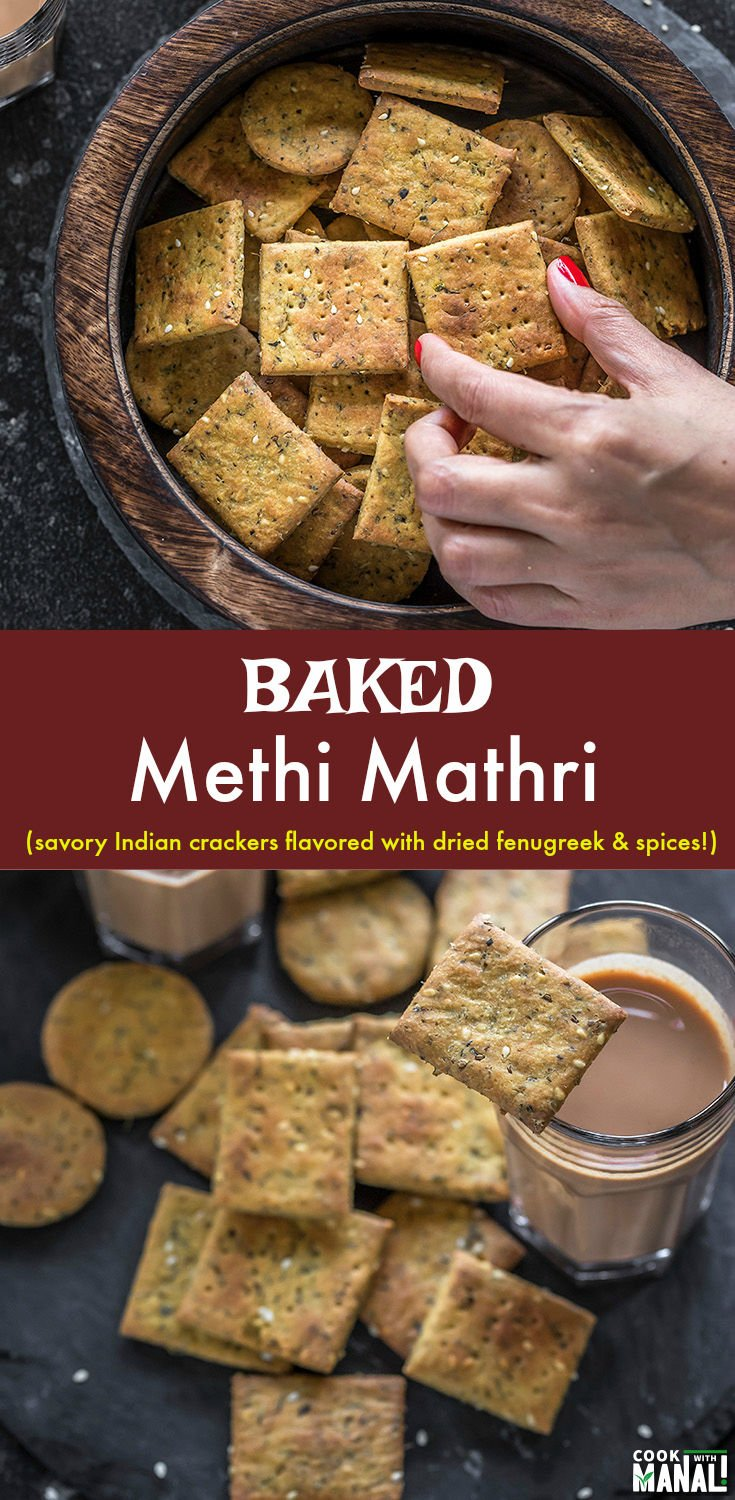 Baked Methi Mathri (Savory Crackers) flavored with dried fenugreek leaves and a bunch of other spices! This healthier version of the traditional mathri is easy to make and best enjoyed with chai! #indian #snack #indianfood
