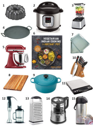 holiday gift guide for the cook with a collage of essential kitchen tools and gadgets