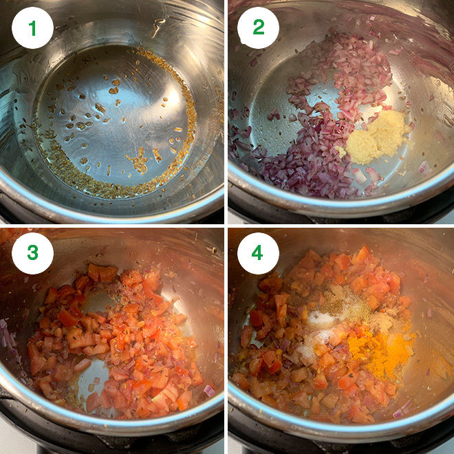 step by step picture collage of making aloo gobi in the instant pot