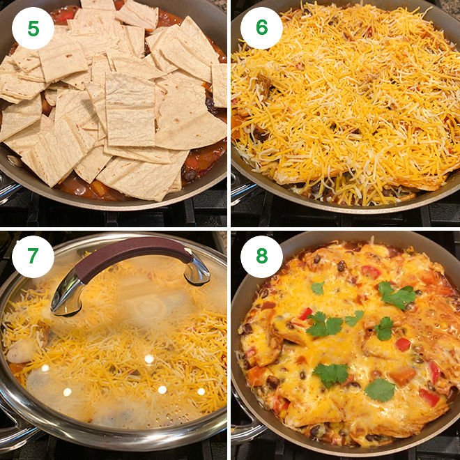 step by step picture collage of one-pot vegetarian enchiladas
