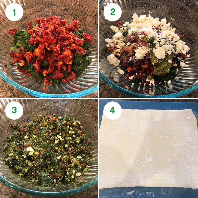 step by step pictures of making spinach sun dried tomato puff pastry pinwheels