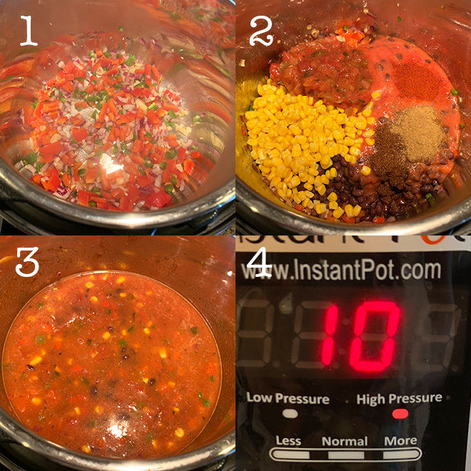 step by step collage of making vegetarian tortilla soup in Instant Pot