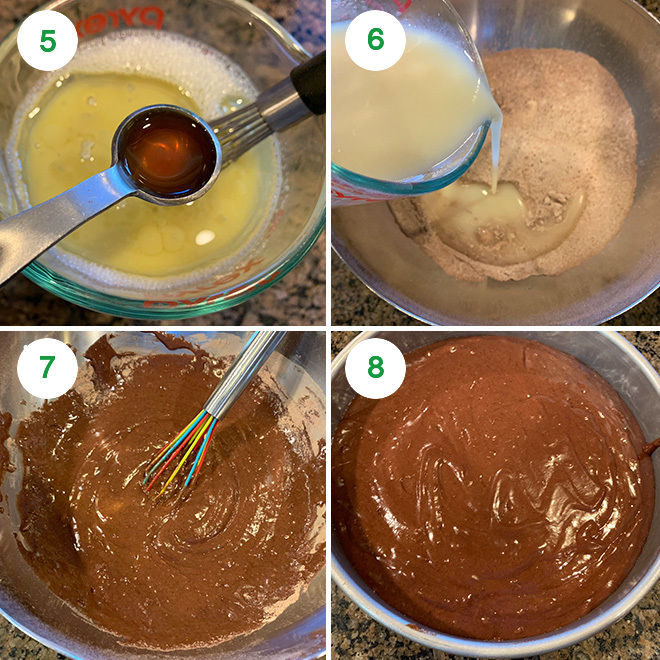 step by step picture collage for eggless chocolate cake