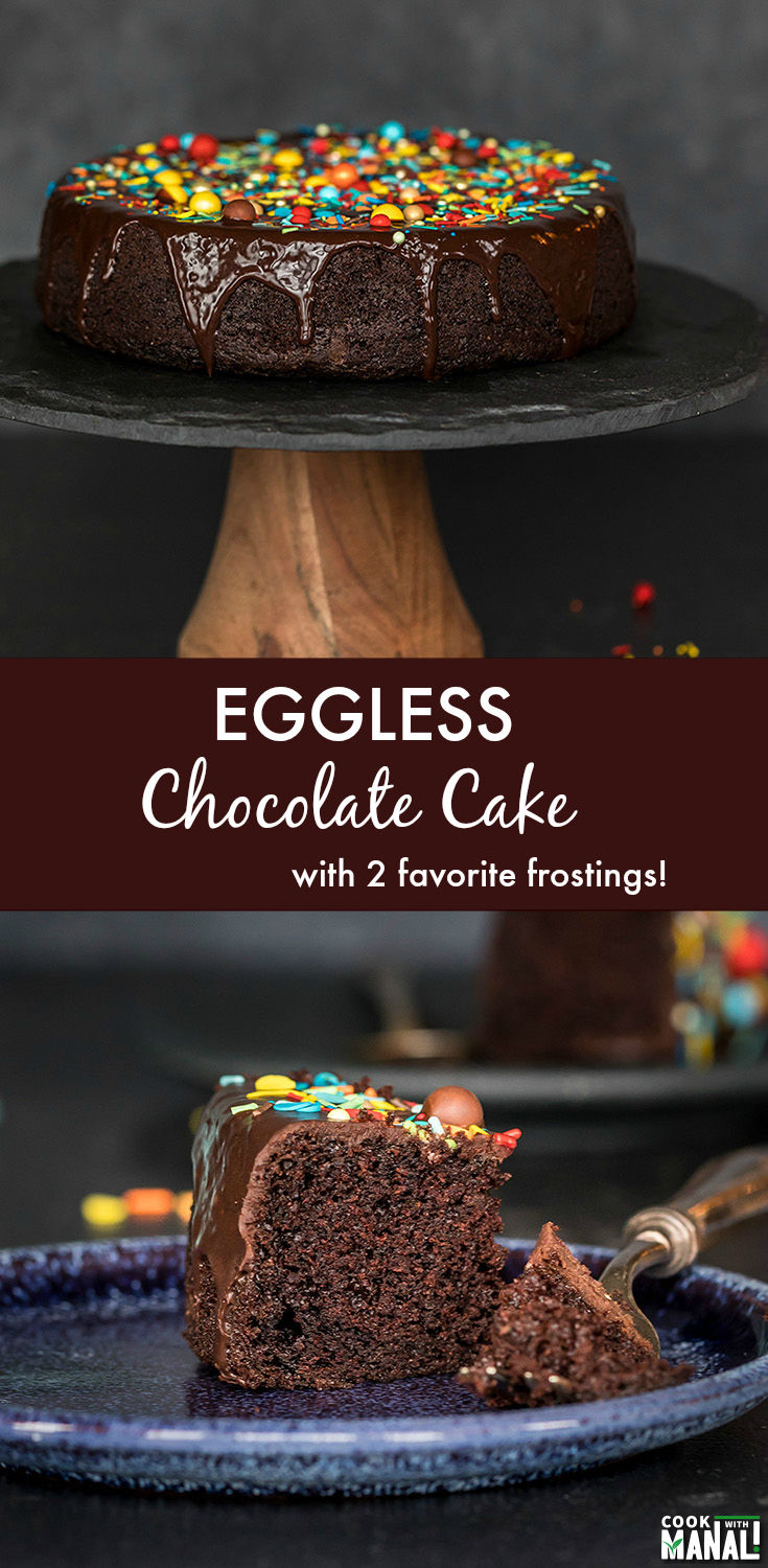 Soft and moist Eggless Chocolate Cake makes the perfect cake for just about any celebration! This easy recipes comes together in no time! #eggless #chocolatecake