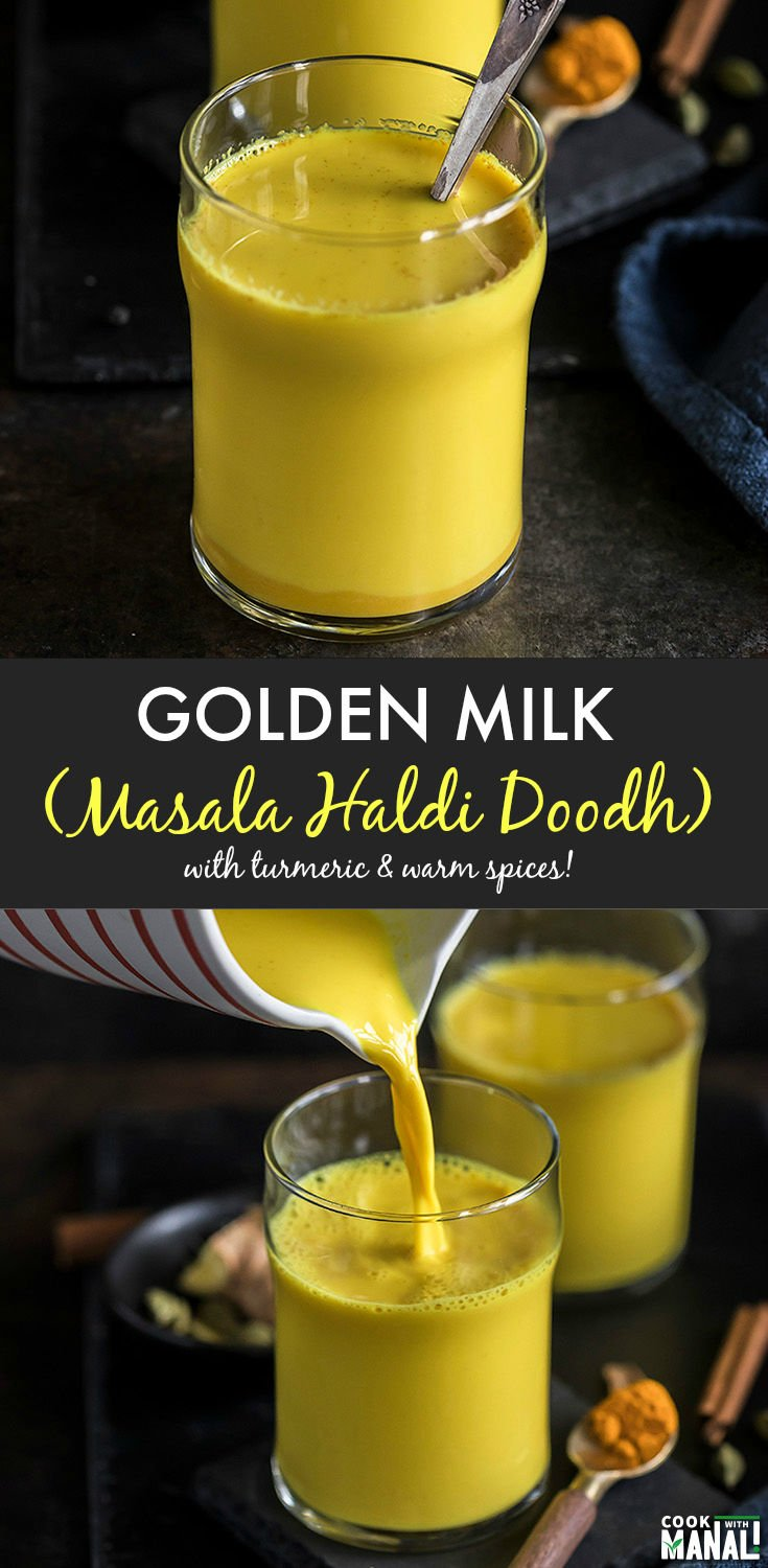 Golden Milk aka Haldi Doodh is a comforting drink made with milk, turmeric and warm spices. Turmeric's anti-inflammatory properties makes it a perfect drink to have when you are under the weather or just when need a little pick-me-up! #indian #goldenmilk