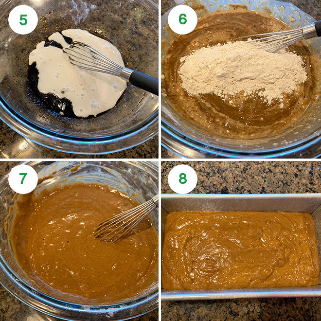 step by step picture collage of making vegan gingerbread cake