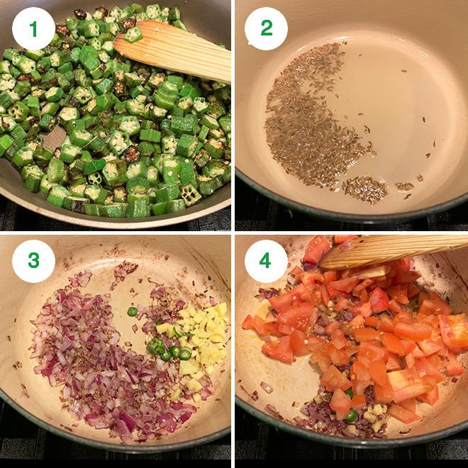 step by step pictures of making bhindi masala