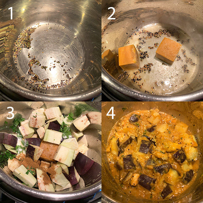 step by step picture collage of making instant pot aloo baingan