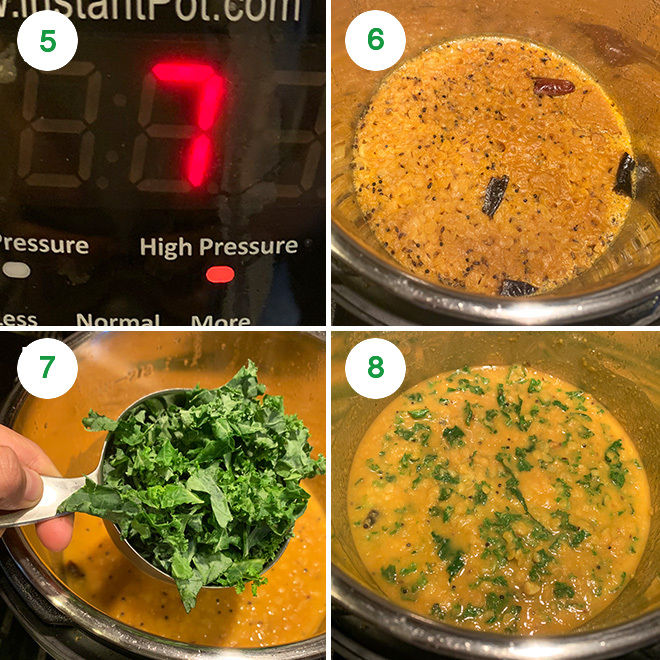 step by step collage of making kale garlic dal in the instant pot