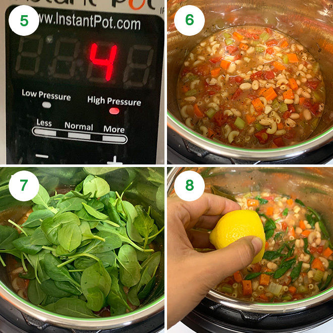 step by step picture collage of making instant pot minestrone soup