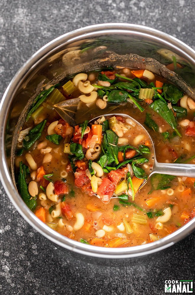 Minestrone Soup in Instant Pot with a ladle