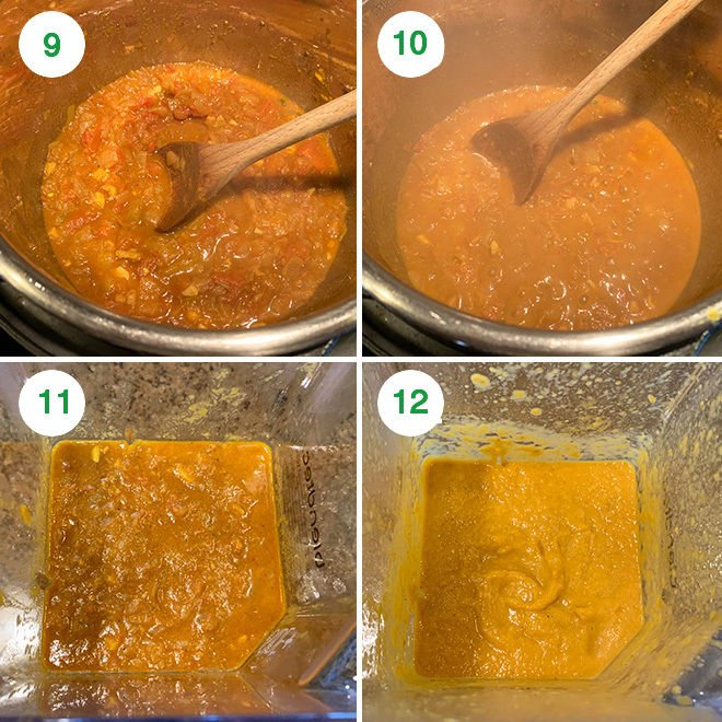 step by step collage of making indian onion tomato masala in instant pot