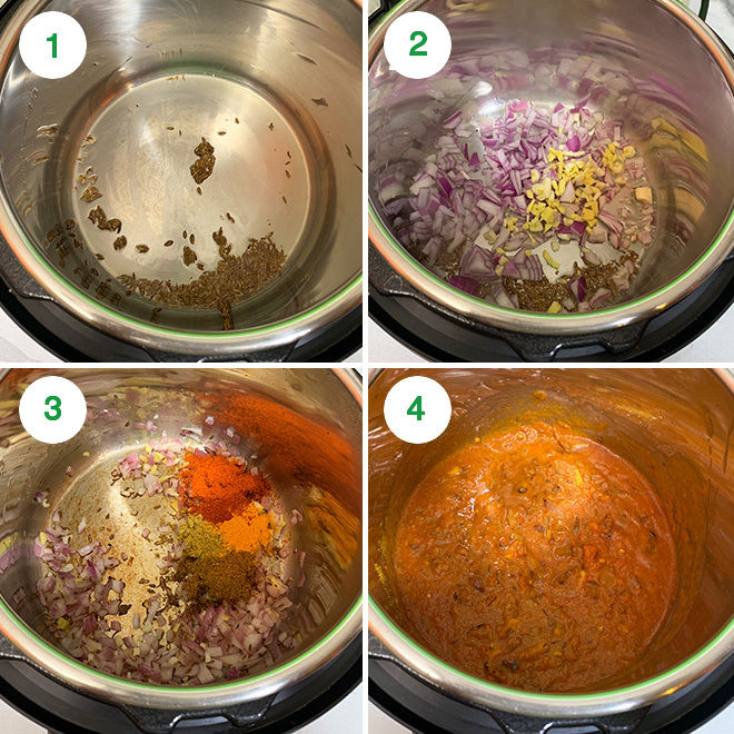 step by step collage of making instant pot tofu matar
