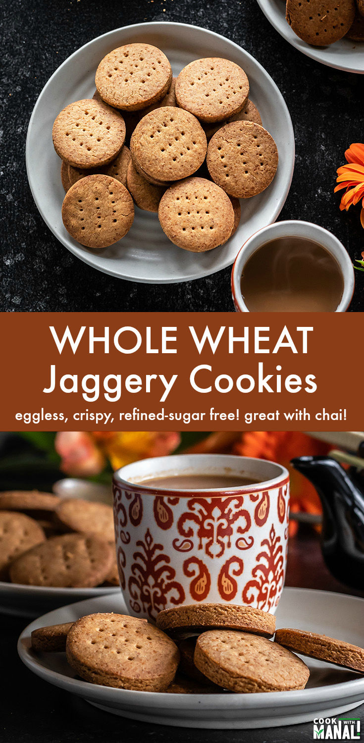 Whole Wheat/Atta Cookies sweetened with jaggery and flavored with cardamom. These crispy eggless cookies are refined sugar free and great with coffee or chai! #eggless #cookies