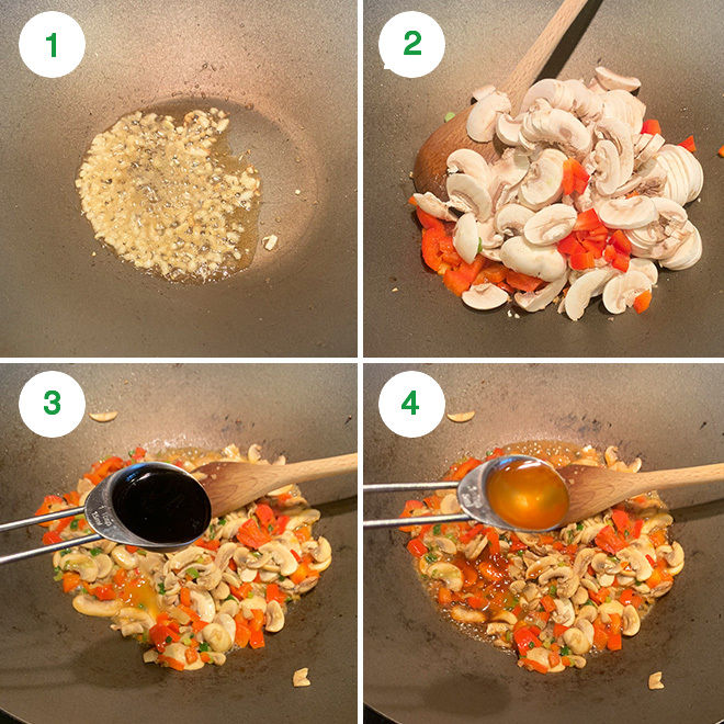 step by step picture collage of making mushroom cauliflower fried rice