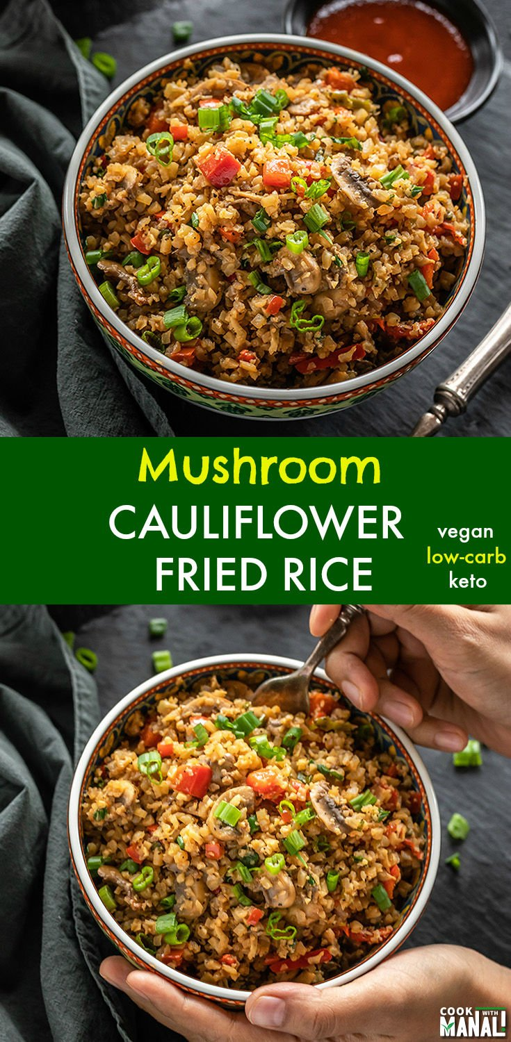Quick and Easy Mushroom Cauliflower Fried Rice is a great alternative to regular fried rice! Low-carb, keto friendly, it's also vegan! Gets done in 15 minutes! #lowcarb #veganketo #keto