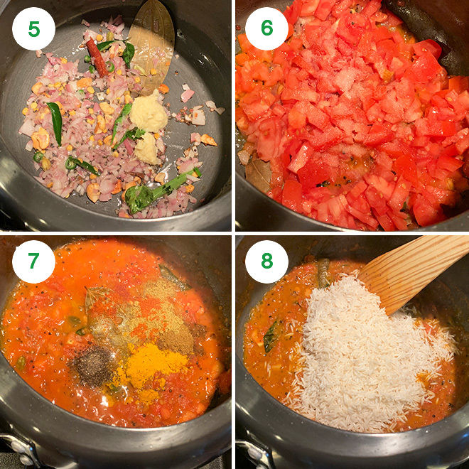 step by step picture collage of making tomato rice